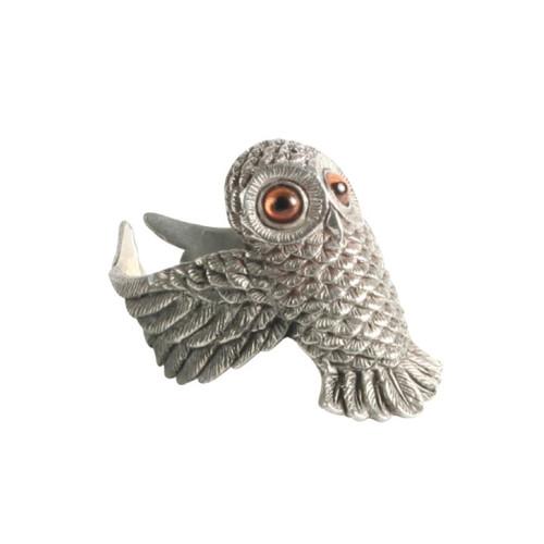 Pewter Owl Napkin Ring Set of 4