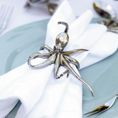 Octopus Napkin Ring Pewter Set of 4