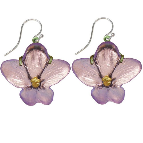 African Violet Wire Earrings | Nature Jewelry