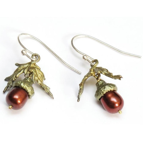 Acorn and Leaf Wire Earrings | Nature Jewelry