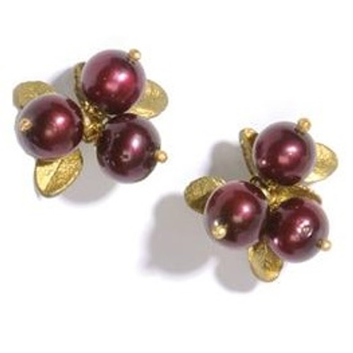 Cranberry 3 Stone Pierced Earrings | Nature Jewelry