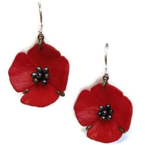 Red Poppy Wire Drop Earrings | Nature Jewelry