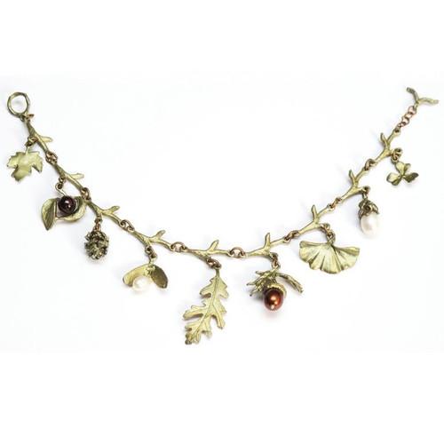 Acorn and Oak Charm Bracelet | Nature Jewelry