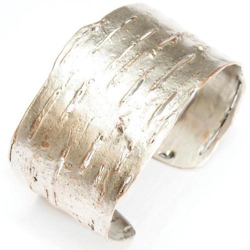 Birch Bark Pink Silver Finish Cuff Bracelet | Nature Jewelry