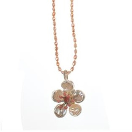 Cherry Blossom Pearl Pendant Necklace | Nature Jewelry