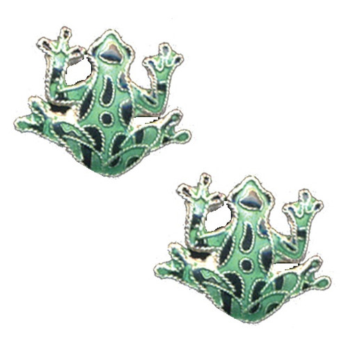 Green Frog Cloisonne Post Earrings   Nature Jewelry