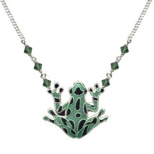 Green Frog Cloisonne Necklace   Nature Jewelry