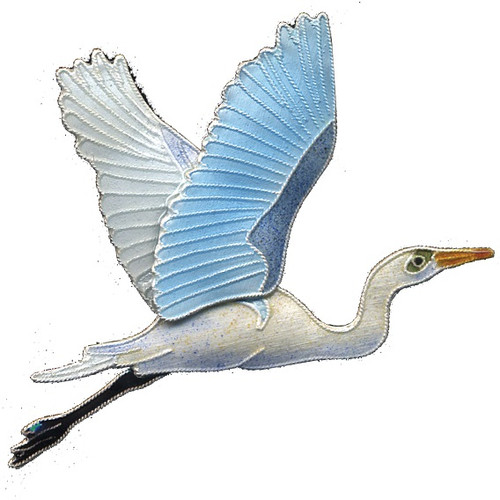 Great Egret Cloisonne Pin | Nature Jewelry