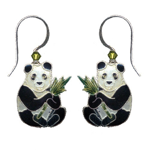 Panda with Bamboo Cloisonne Wire Earrings | Nature Jewelry