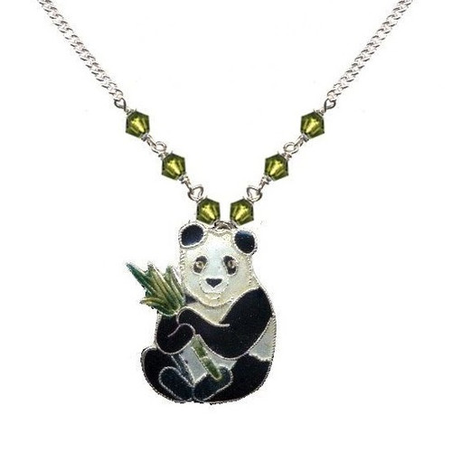 Panda with Bamboo Cloisonne Small Necklace | Nature Jewelry