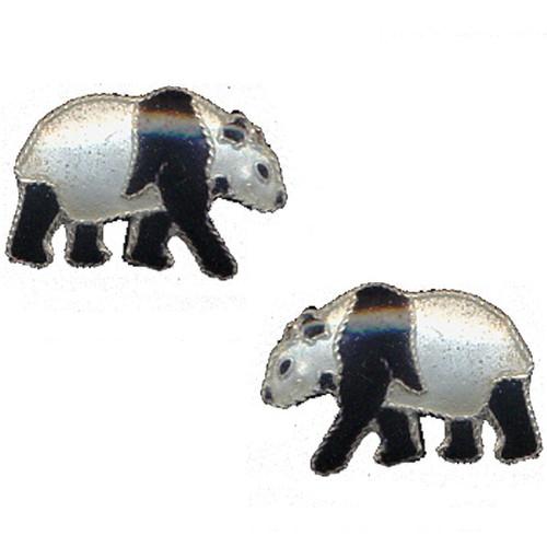 Walking Panda Cloisonne Post Earrings | Nature Jewelry
