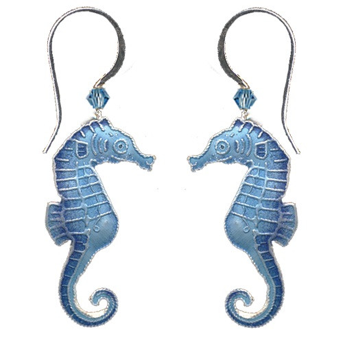 Blue Seahorse Cloisonne Wire Earrings | Nature Jewelry