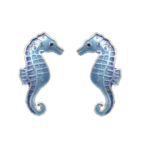 Blue Seahorse Cloisonne Post Earrings | Nature Jewelry