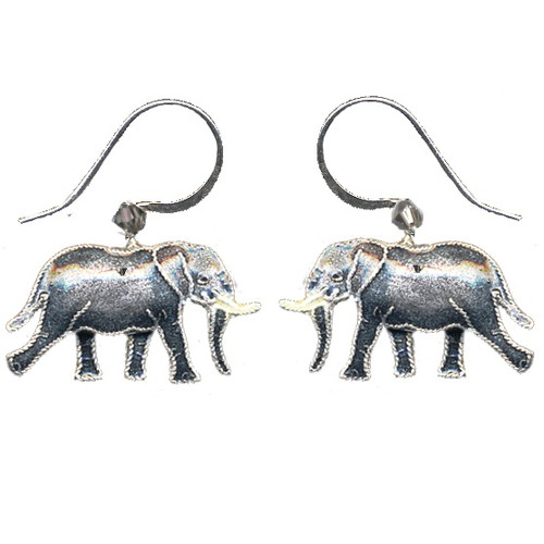 Jungle Elephant Cloisonne Wire Earrings | Nature Jewelry