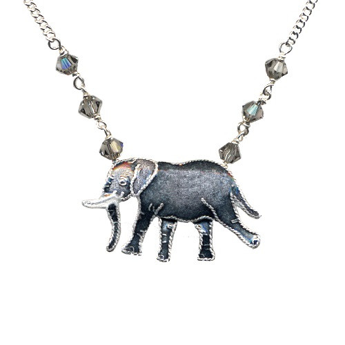 Walking Elephant Cloisonne Necklace | Nature Jewelry