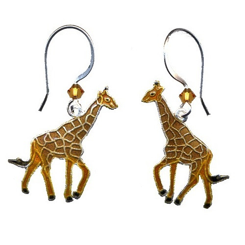 Giraffe Cloisonne Wire Earrings | Nature Jewelry
