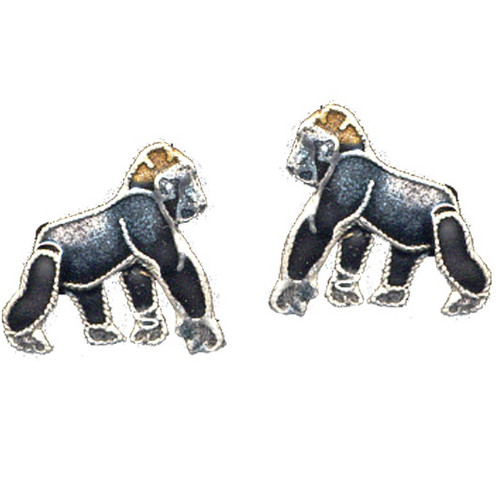 Gorilla Cloisonne Post Earrings | Nature Jewelry