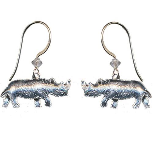 Rhino Cloisonne Wire Earrings | Nature Jewelry