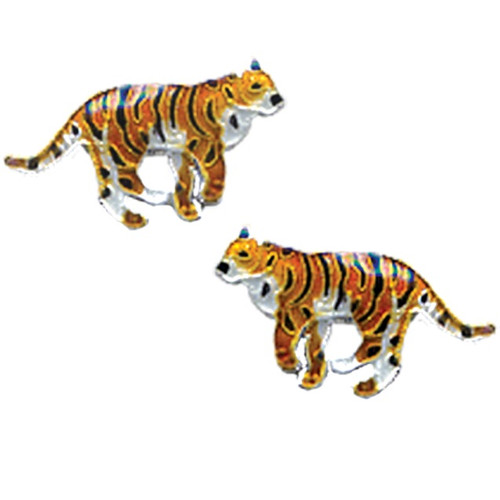 Tiger Cloisonne Post Earrings | Nature Jewelry