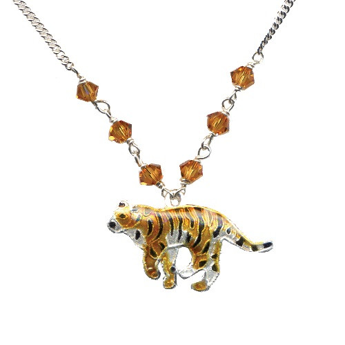 Tiger Cloisonne Small Necklace   Nature Jewelry