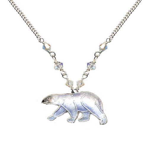 Polar Bear Cloisonne Small Necklace | Nature Jewelry