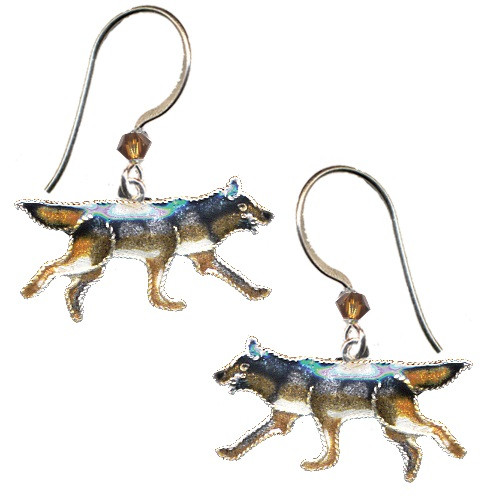Wolf Cloisonne Wire Earrings | Nature Jewelry