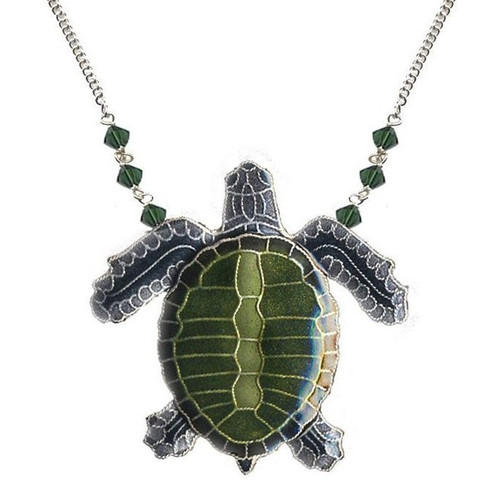Olive Ridley Sea Turtle Cloisonne Large Necklace | Nature Jewelry