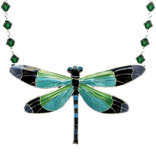 Radiant Gossamer Wing Dragonfly Cloisonne Crystal Necklace   Nature Jewelry