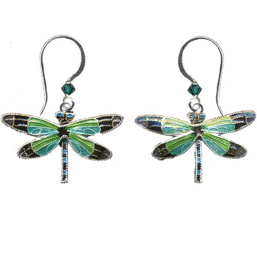 Radiant Gossamer Wing Dragonfly Wire Earrings | Nature Jewelry