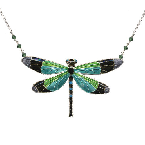 Radiant Gossamer Wing Dragonfly Large Necklace   Nature Jewelry