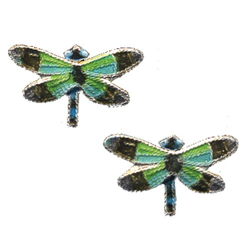 Radiant Gossamer Wing Dragonfly Cloisonne Post Earrings   Nature Jewelry