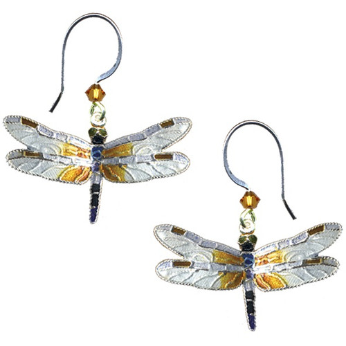 Great Blue Skimmer Dragonfly Cloisonne Wire Earrings   Nature Jewelry