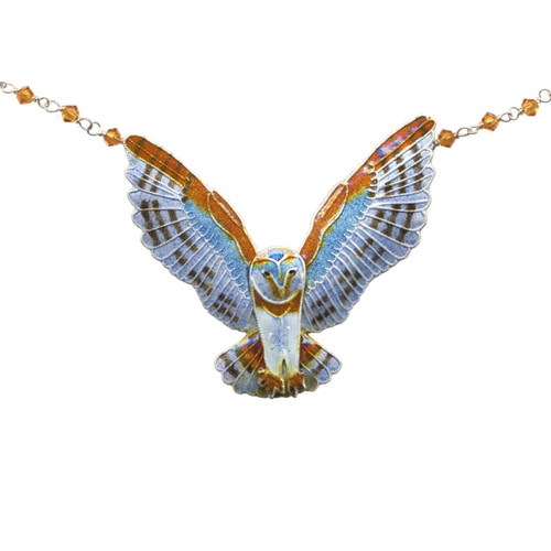 Barn Owl Large Cloisonne Necklace | Nature Jewelry