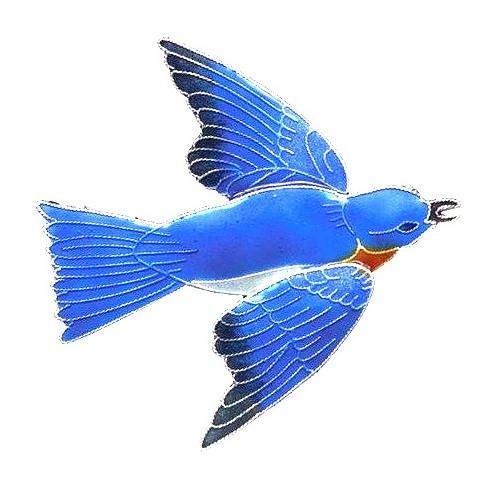 Bluebird Cloisonne Pin   Nature Jewelry