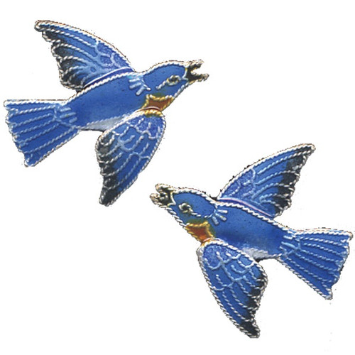 Bluebird Cloisonne Post Earrings | Nature Jewelry