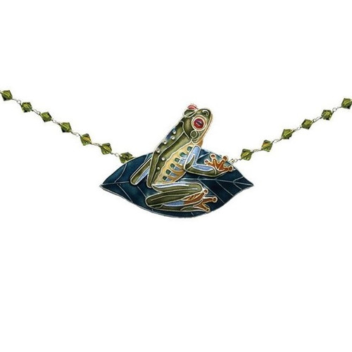Red Eyed Tree Frog Cloisonne Necklace   Nature Jewelry
