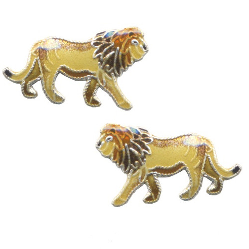 Lion Cloisonne Post Earrings   Nature Jewelry