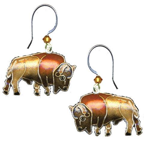 Buffalo Cloisonne Wire Earrings | Nature Jewelry