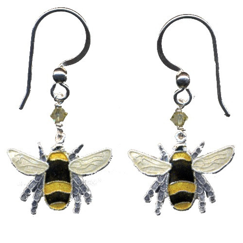 Bumble Bee Cloisonne Wire Earrings | Nature Jewelry