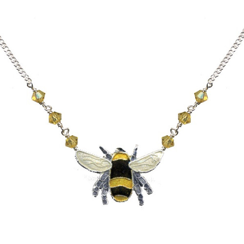Bumble Bee Cloisonne Small Necklace | Nature Jewelry