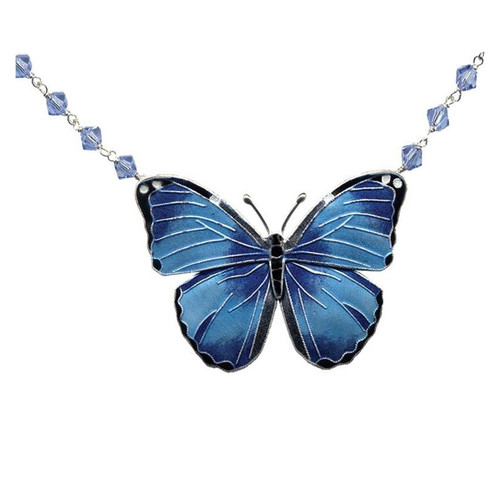 Blue Morpho Butterfly Cloisonne Necklace | Nature Jewelry
