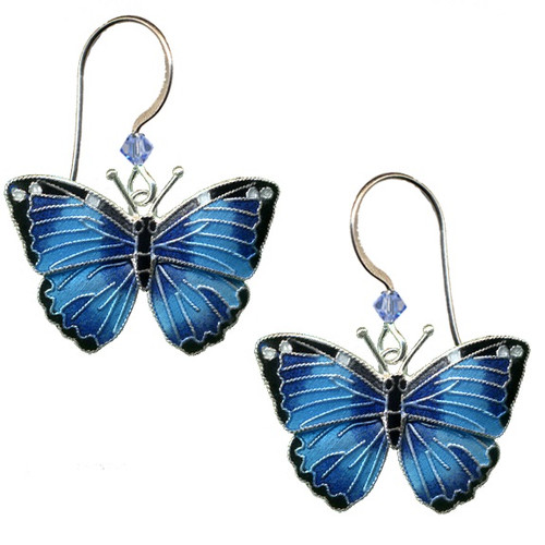 Blue Morpho Butterfly Cloisonne Wire Earrings | Nature Jewelry