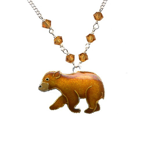 Bear Cub Cloisonne Small Necklace | Nature Jewelry