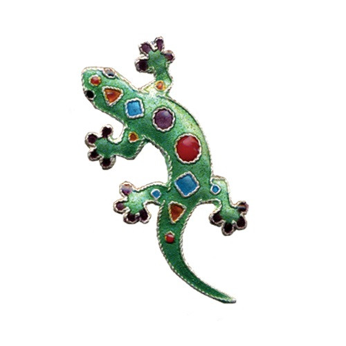 Art Gecko Cloisonne Pin | Nature Jewelry