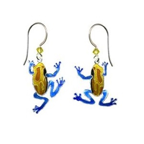 Tree Frog Swinging Wire Earrings   Nature Jewelry