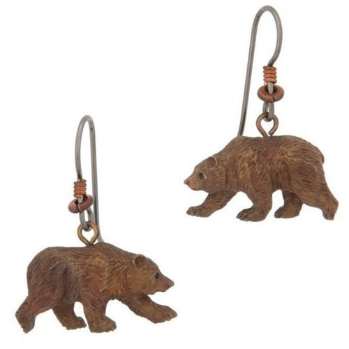 Grizzly Bear Wire Earrings | Nature Jewelry
