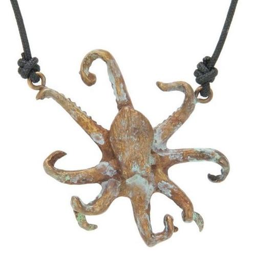Octopus Bronze Pendant Necklace | Nature Jewelry