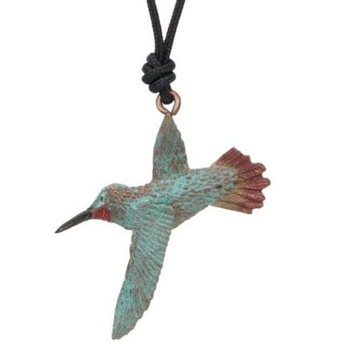 Hummingbird Rufous Pendant Necklace   Nature Jewelry