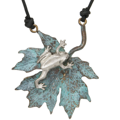 Frog & Maple Leaf  Pendant Necklace   Nature Jewelry