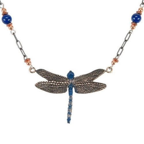 Dragonfly Blue Beaded Necklace | Nature Jewelry